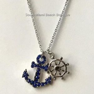 Jewelry - Silver Blue Crystal Anchor Wheel Nautical Necklace